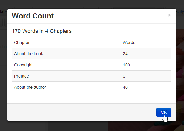 Papyrus Editor's word count option