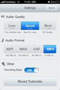 Recordium iOS Settings