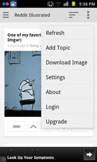 Reddit Illustrated menu
