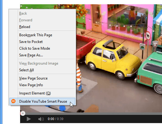 Right-click enable-disable YouTube Smart Pause