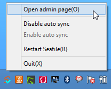 Seafile tray icon's context menu