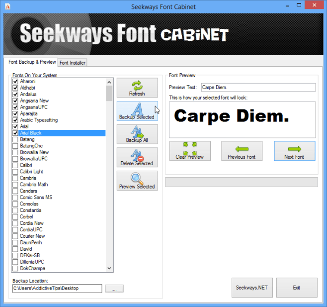 Seekways Font Cabinet user interface