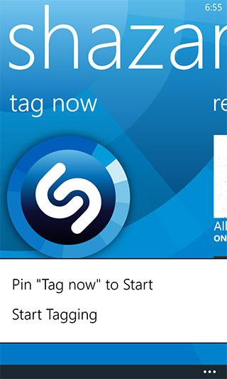 Shazam Windows Phone Tag Now Pin to Start