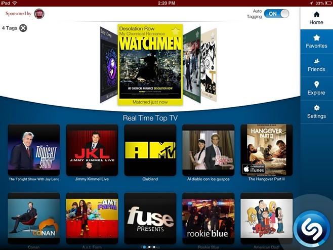 Shazam-iPad-Home-screen