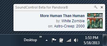 SoundControl Beta for Pandora notification