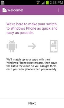 Switch to Windows Phone Android Welcome