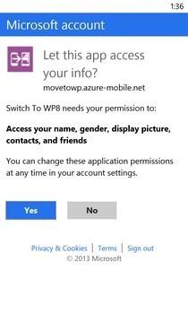 Switch to Windows Phone WP Signin