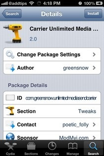 Unlimited Media Send iOS Carrier