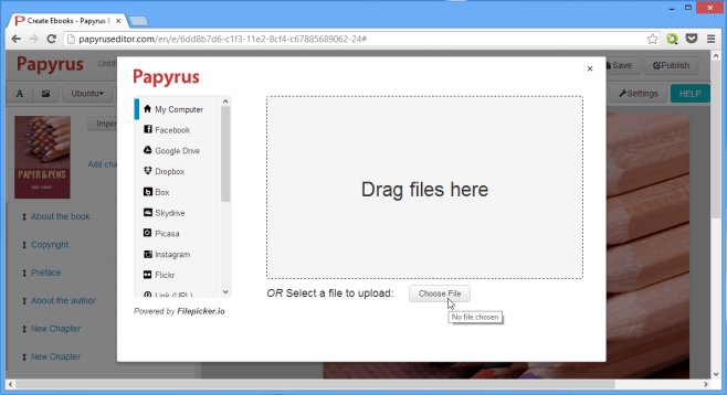 Uploading a photo in Papyrus