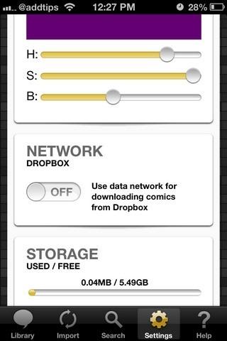YACReader iOS Settings
