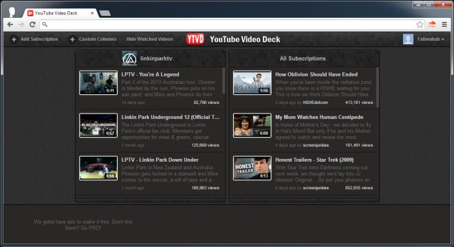 YouTube Video Deck