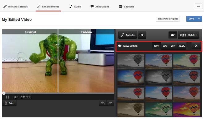 YouTube slow motion