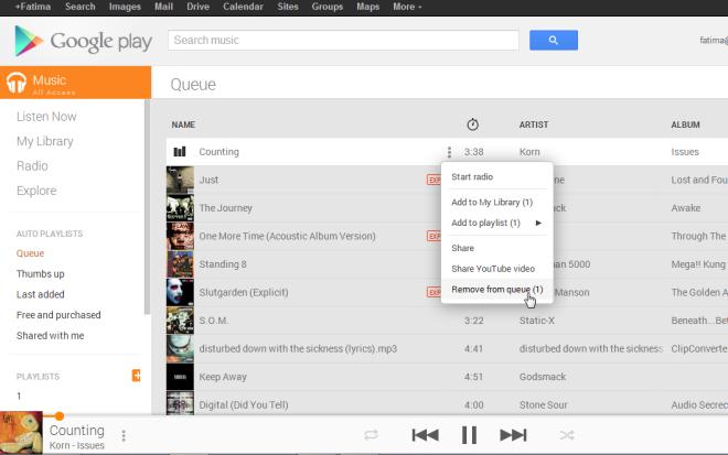google music queue