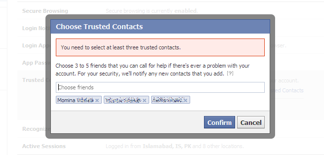 select trusted contacts