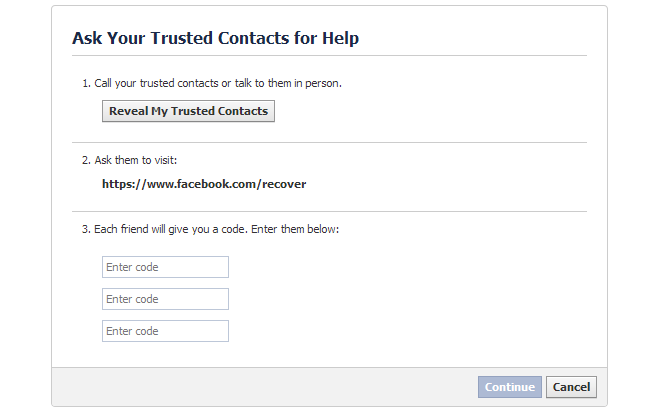 trusted contact ask for help