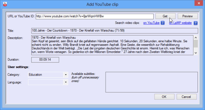 Adding a YouTube clip