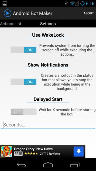 Android Bot Maker settings