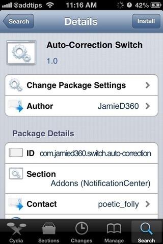Auto-Correction Switch Cydia