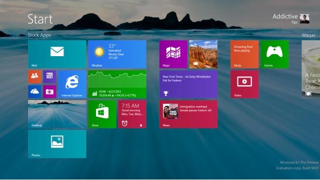 Desktop Wallpaper On Start Screen