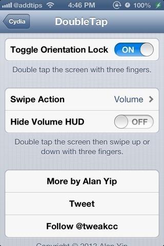DoubleTap iOS Settings