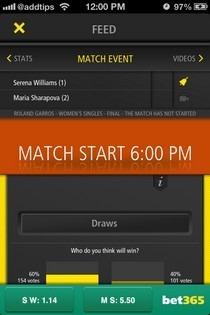 Live Score Tennis iOS Match