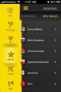 Live Score Tennis iOS Menu