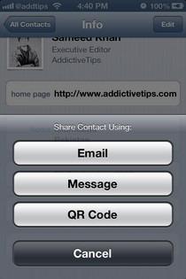 NativeQR iOS Contact