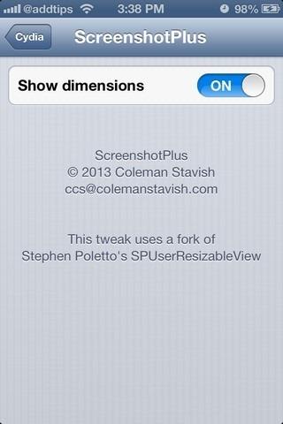 ScreenshotPlus iOS Settings