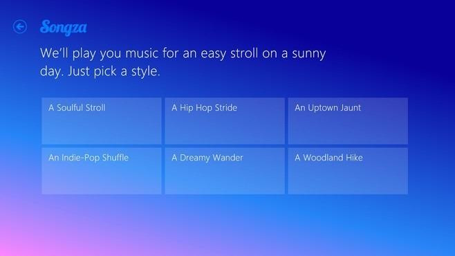 Songza Windows 8 Category