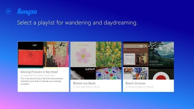 Songza Windows 8 Playlist