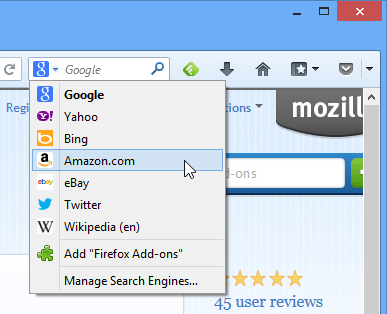 Using Firefox's search engine bar the traditional way
