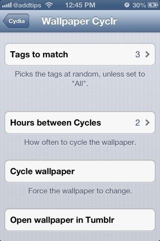 Wallpaper Cyclr iOS Settings