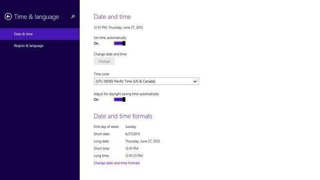 Windows 8.1 Time & language