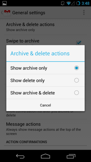 select archive action