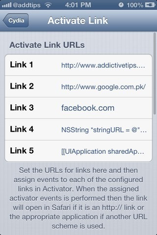 Activate Link iOS Settings