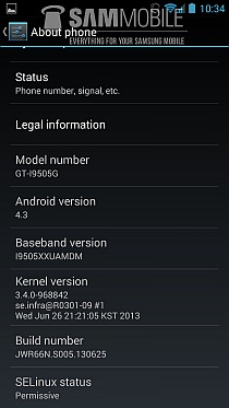 Android 4.3 Google Play Edition Galaxy S4 - About