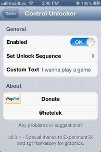Control Unlocker iOS Settings