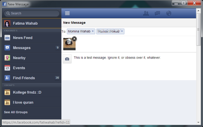 Facebook Messenger sidebar