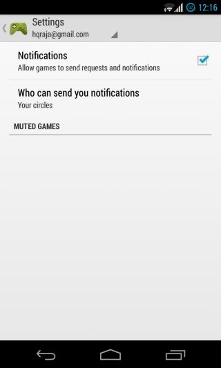 Google Play Games - Home - Settings