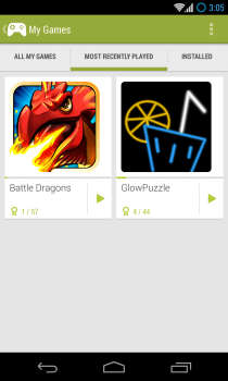 Google Play Games - My Games - Recently Played
