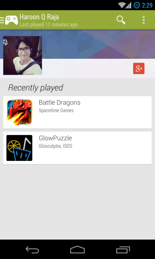Google Play Games - Players - My Activity