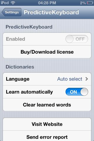 PredictiveKeyboard settings