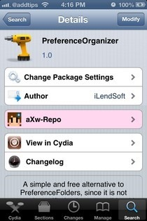 PreferenceOrganizer iOS Cydua