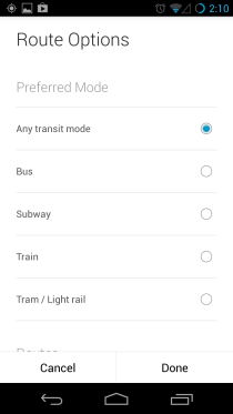 Route Options