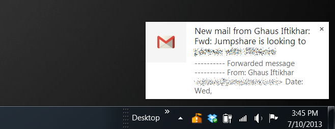 notification chrome