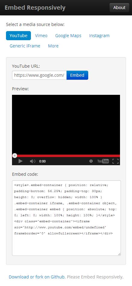 video embedresponsively