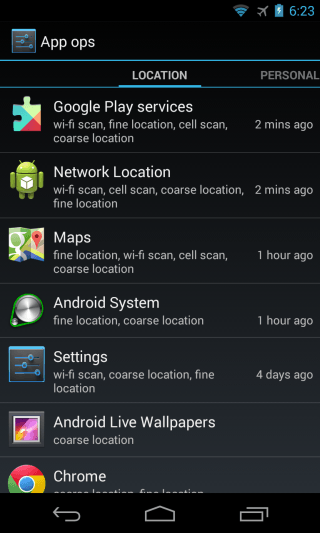 Android App Ops - Main Screen