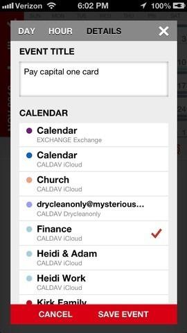 Calvetica Calendar iOS Events