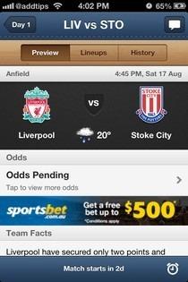 EPL Live iOS Fixture