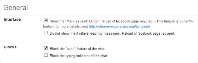 Facebook Unseen Options